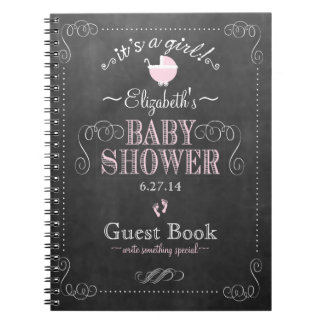 Vintage Chalkboard Pink Baby Shower Guest Book- Spiral Notebook