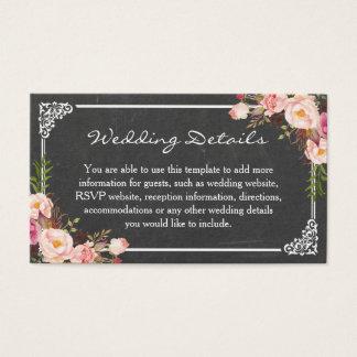 Vintage Chalkboard Pink Floral Wedding Insert Card