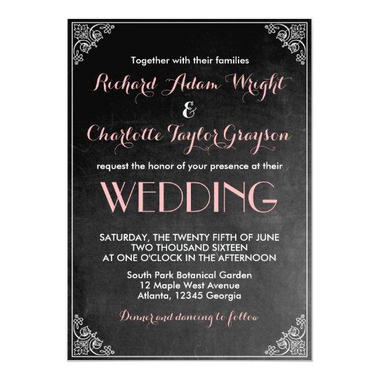 Vintage Chalkboard Pink Grey Wedding Invitation