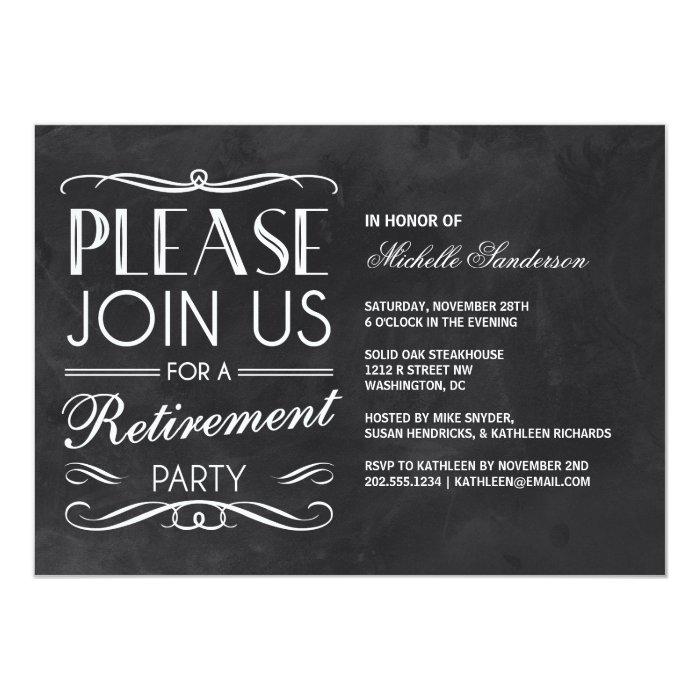 vintage chalkboard retirement party 13 cm x 18 cm invitation card zazzle. Black Bedroom Furniture Sets. Home Design Ideas