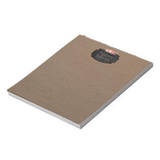 Vintage Chalkboard Roses | Feminine Monogram Kraft Notepad