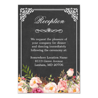 Vintage Chalkboard Rustic Floral Wedding Reception Card