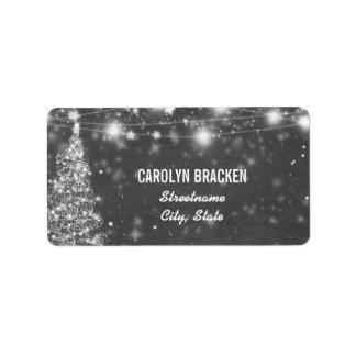 Vintage Chalkboard Shimmering Stars Christmas Tree Label
