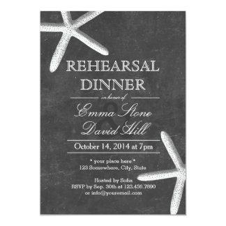 Vintage Chalkboard Starfish Rehearsal Dinner 13 Cm X 18 Cm Invitation Card