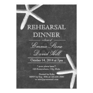 Vintage Chalkboard Starfish Rehearsal Dinner Custom Invite