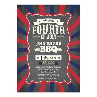 Vintage Chalkboard Stripe 4th of July Party Card