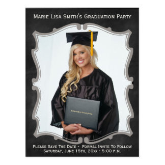 Vintage Chalkboard Style Graduation Photo Card Postcard
