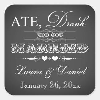 Vintage Chalkboard Style Wedding Favor Sticker