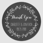 Vintage Chalkboard Thank You Wedding Favour Tags Round Sticker