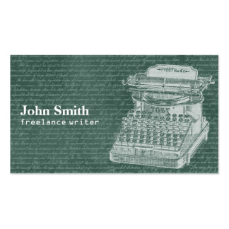 Vintage Chalkboard & Typewriter Freelance Writer Business Card Templates