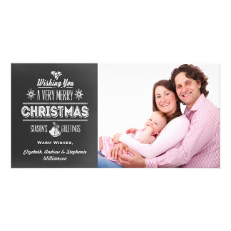 Vintage Chalkboard Typography Holiday Photo Card Template
