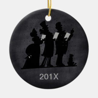 Vintage Chalkboard Victorian Christmas Carolers Christmas Ornament
