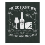 Vintage Chalkboard We Go Together Typography Poster