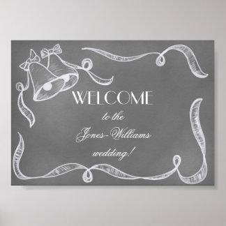 Vintage Chalkboard Wedding Bells Poster