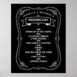 Vintage Chalkboard Wedding Day of Schedule Poster