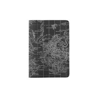 Vintage Chalkboard World Map Passport Holder