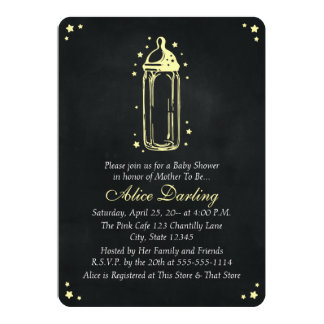 Vintage Chalkboard Yellow Baby Bottle Baby Shower 13 Cm X 18 Cm Invitation Card