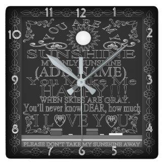 Vintage Chalkboard You Are My Sunshine Clock
