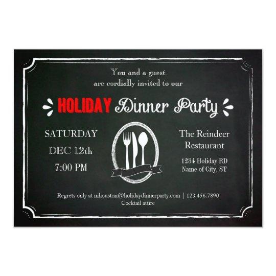 Vintage Chalkboark Holiday Dinner Party Invitation