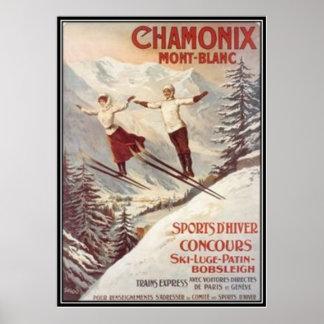 Vintage Chamonix, Mont-Blanc, France - Poster