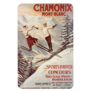 Vintage Chamonix, Mont-Blanc, France - Rectangular Photo Magnet