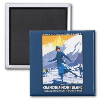 Vintage Chamonix - Mont Blanc Poster Square Magnet