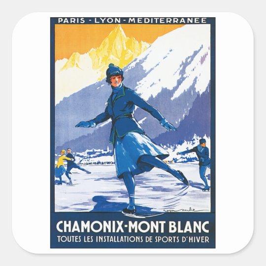 Vintage Chamonix - Mont Blanc Poster Square Sticker