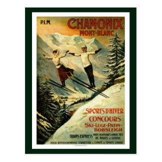 Vintage Chamonix Ski Postcard