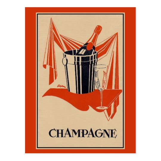Vintage champagne party and birthday postcard