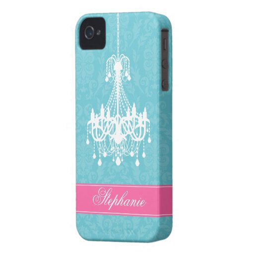 Vintage Chandelier and Damask Pattern iPhone 4 Cases