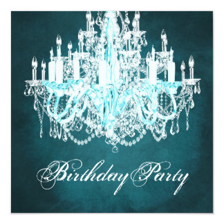 Vintage Chandelier Birthday Party 13 Cm X 13 Cm Square Invitation Card