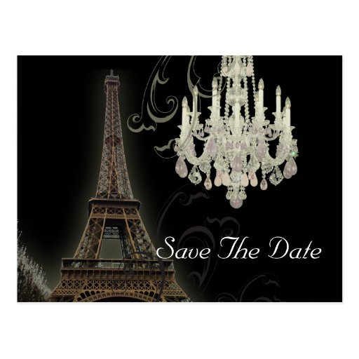 vintage Chandelier Paris Wedding SaveTheDate Post Card