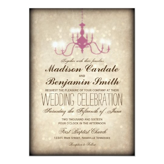 Vintage Chandelier Rustic Wedding Invitations