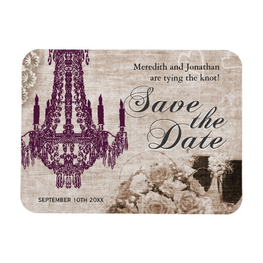 Vintage Chandelier Save the Date Magnets