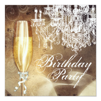 Vintage Chandelier Womans Birthday Party 13 Cm X 13 Cm Square Invitation Card