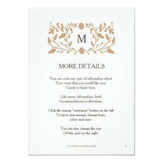 Vintage Chapter Page Wedding Insert Card. 11 Cm X 16 Cm Invitation Card