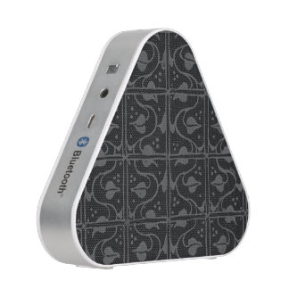 Vintage Charcoal Gray Black Leaf and Vines Bluetooth Speaker