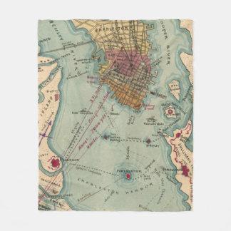 Vintage Charleston SC Civil War Map (1865) Fleece Blanket