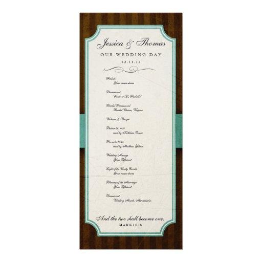 Vintage Charm Chocolate & Aqua Blue Program Personalized Invitations