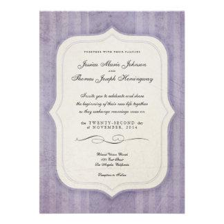 Vintage Charm Lilac Monogram Wedding Invitations