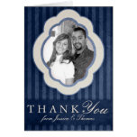Vintage Charm Navy Blue Custom Photo Thank You Greeting Card