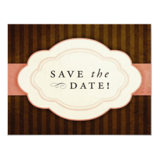 Vintage Charm Pink and Chocolate Save the Dates 4.25x5.5 Paper Invitation Card