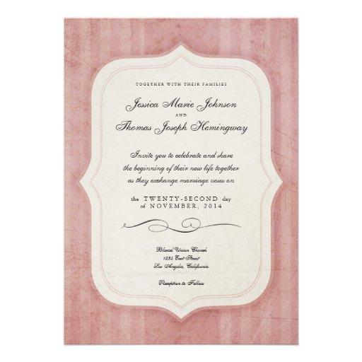 Vintage Charm Pink Monogram Wedding Invitations