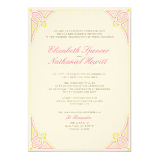 Vintage Charm Wedding Invitation Pink & Yellow