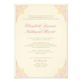 Vintage Charm Wedding Invitation Pink & Yellow