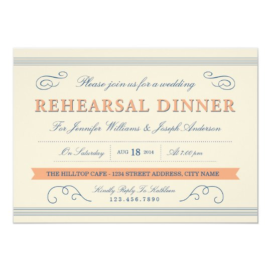 Vintage Charm Wedding Rehearsal Invite