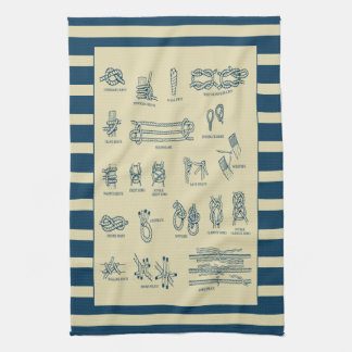 Vintage chart of nautical knots with stripes tea towel
