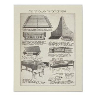 Vintage chart of the Piano Poster