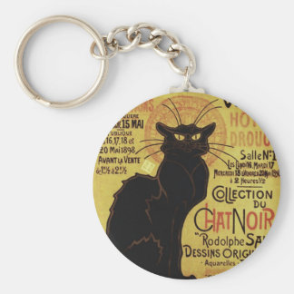 Vintage Chat Noir, Vente Hôtel Drouot Steinlen Basic Round Button Key Ring