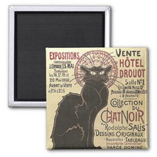 Vintage Chat Noir, Vente Hôtel Drouot Steinlen Square Magnet
